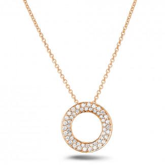 ネックレス - 0.34 カラットのピンクゴールドダイヤモンドネックレス