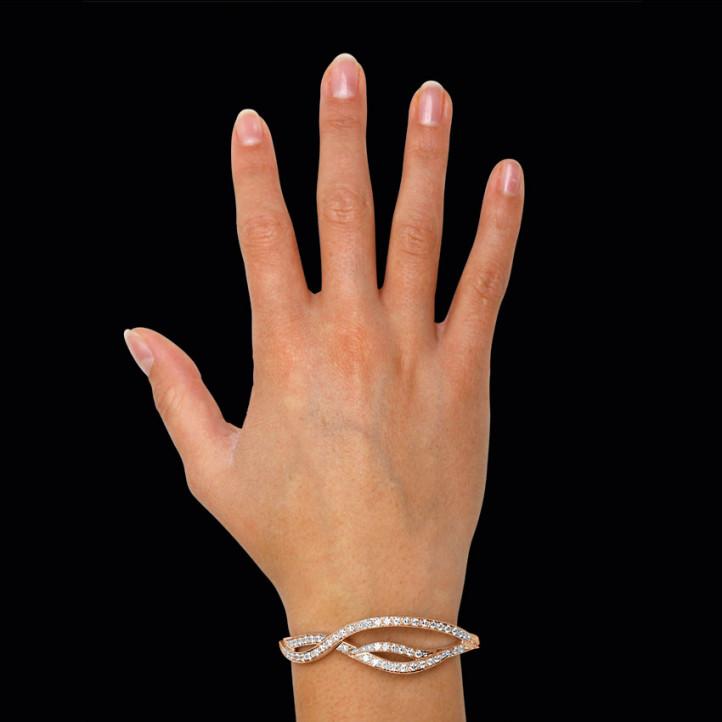 3.86 カラットのピンクゴールドダイヤモンドデザインブレスレット