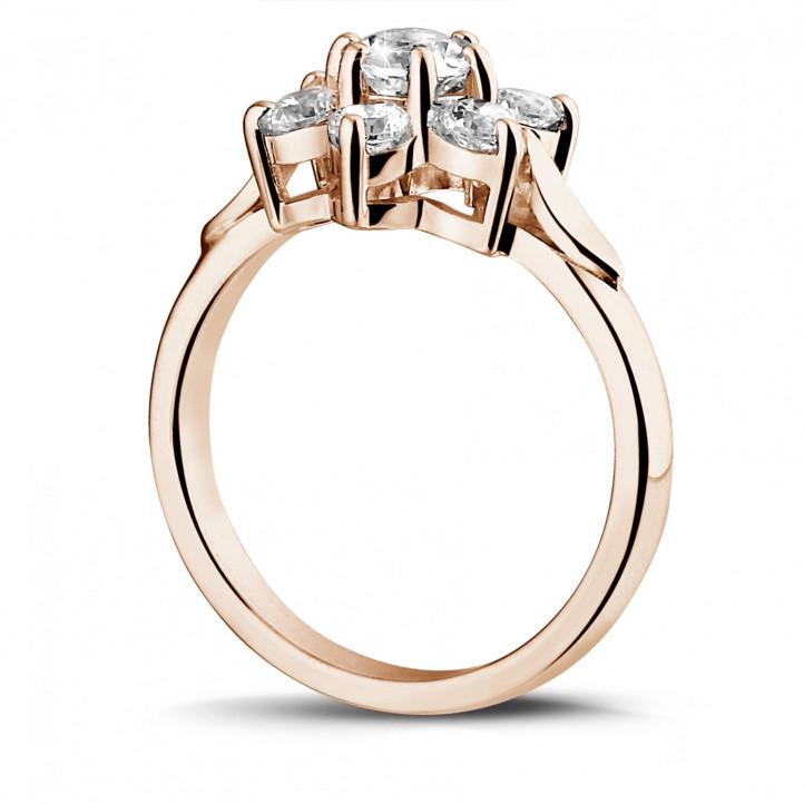 1.15 カラットのピンクゴールドダイヤモンドフラワーリング