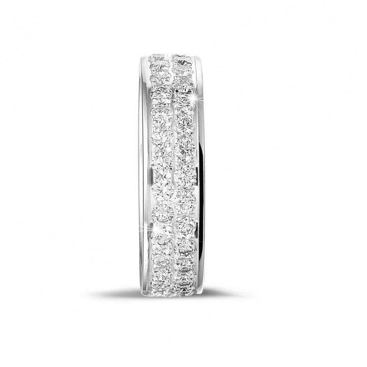 1.15 カラットの2列のラウンドダイヤモンド付きホワイトゴールドエタニティリング(フルセット)