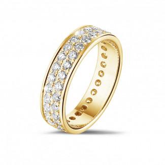 イエローゴールドダイヤモンドリング - 1.15 カラットの2列のラウンドダイヤモンド付きイエローゴールドエタニティリング(フルセット)