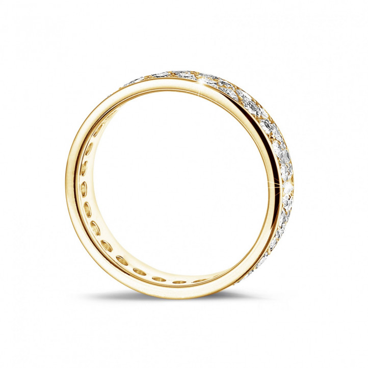 1.15 カラットの2列のラウンドダイヤモンド付きイエローゴールドエタニティリング(フルセット)