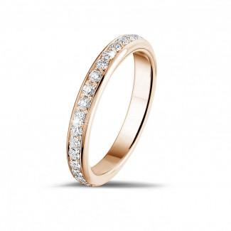 ピンクゴールドのダイヤモンド結婚指輪 - 0.55 カラットのピンクゴールドダイヤモンドエタニティリング (フルセット)