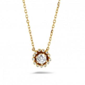 イエローゴールド - 0.50 カラットのイエローゴールドダイヤモンドデザインペンダント