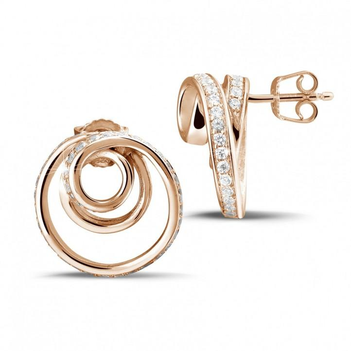 1.30 カラットのピンクゴールドダイヤモンドデザインイヤリング