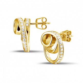 イヤリング - 1.30 カラットのイエローゴールドダイヤモンドデザインイヤリング