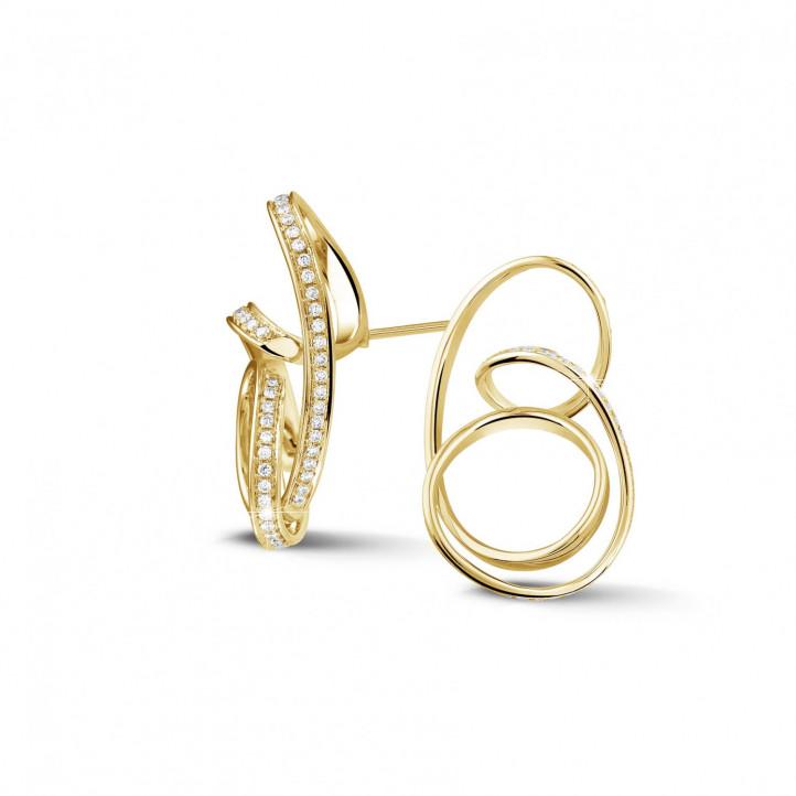 1.50 カラットのイエローゴールドダイヤモンドデザインイヤリング
