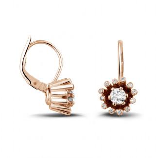 イヤリング - 0.50 カラットのピンクゴールドダイヤモンドデザインイヤリング