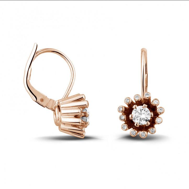 0.50 カラットのピンクゴールドダイヤモンドデザインイヤリング