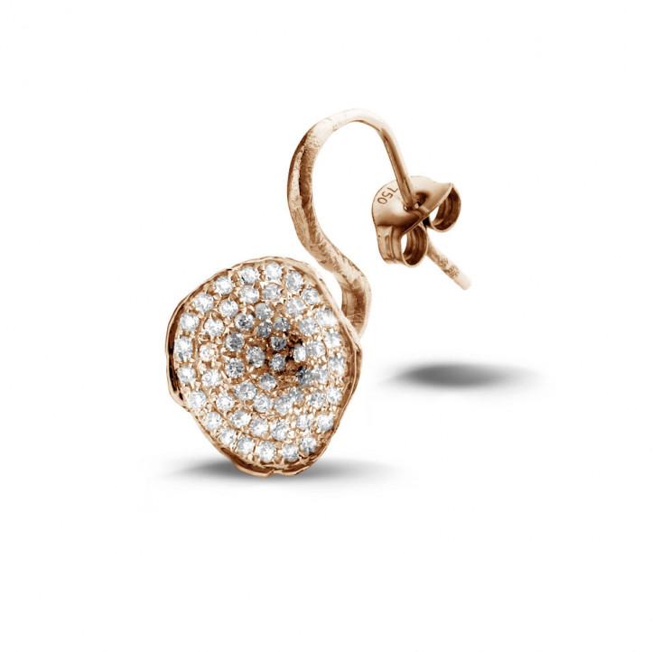 0.76 カラットのピンクゴールドダイヤモンドデザインイヤリング