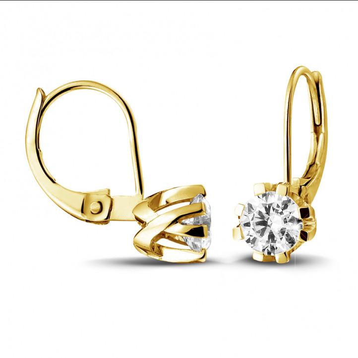 1.00 カラットの8つのプロング付きイエローゴールドダイヤモンドデザインイヤリング
