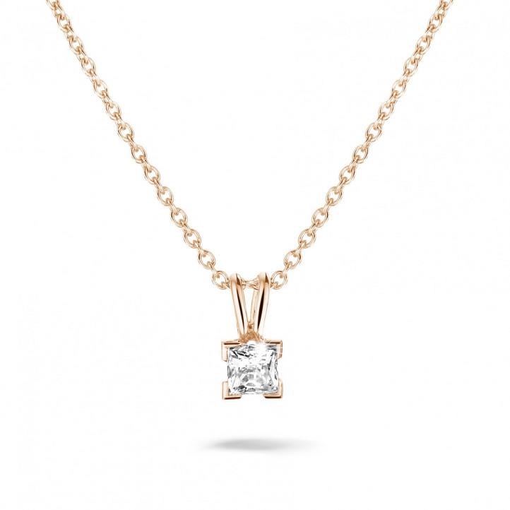 0.50 カラットのプリンセスダイヤモンド付きピンクゴールドソリテールペンダント