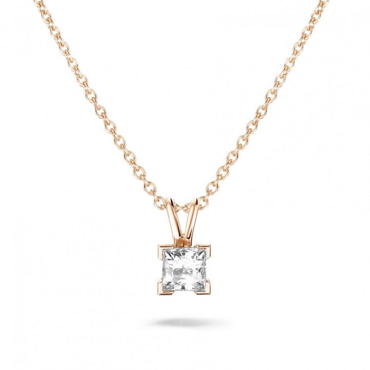 0.70 カラットのプリンセスダイヤモンド付きピンクゴールドソリテールペンダント