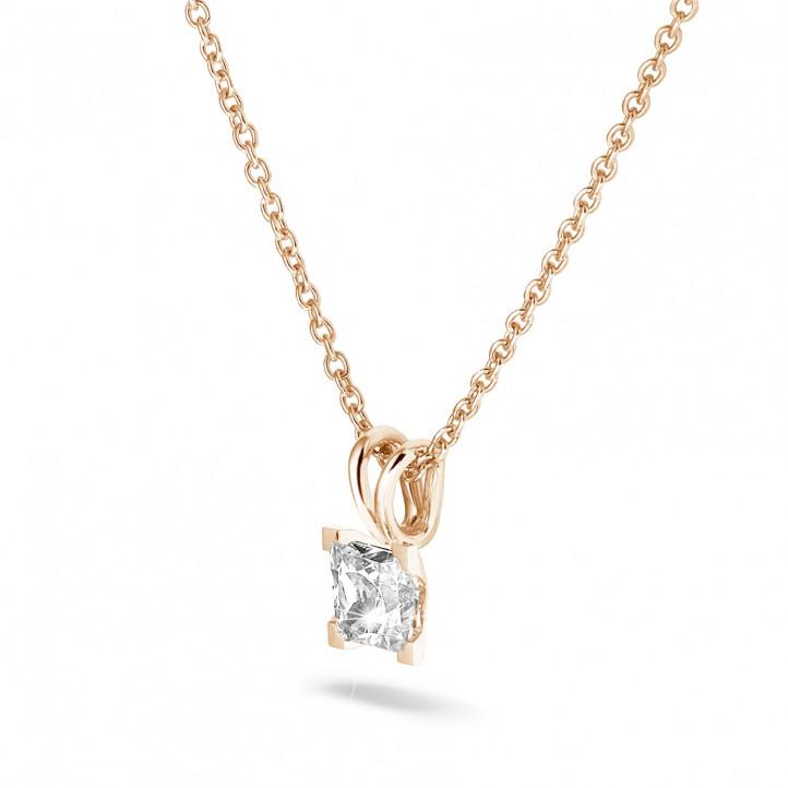 1.00 カラットのプリンセスダイヤモンド付きピンクゴールドソリテールペンダント