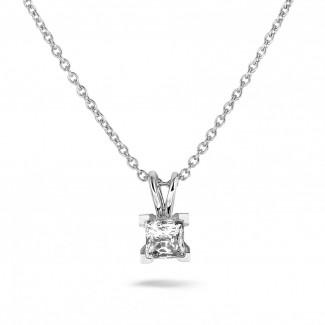 ネックレス - 1.00 カラットのプリンセスダイヤモンド付きプラチナソリテールペンダント