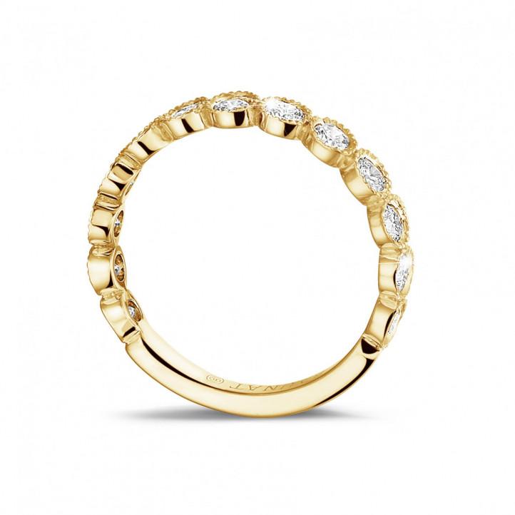 0.70 カラットのイエローゴールドダイヤモンド重ね付けビーズリング