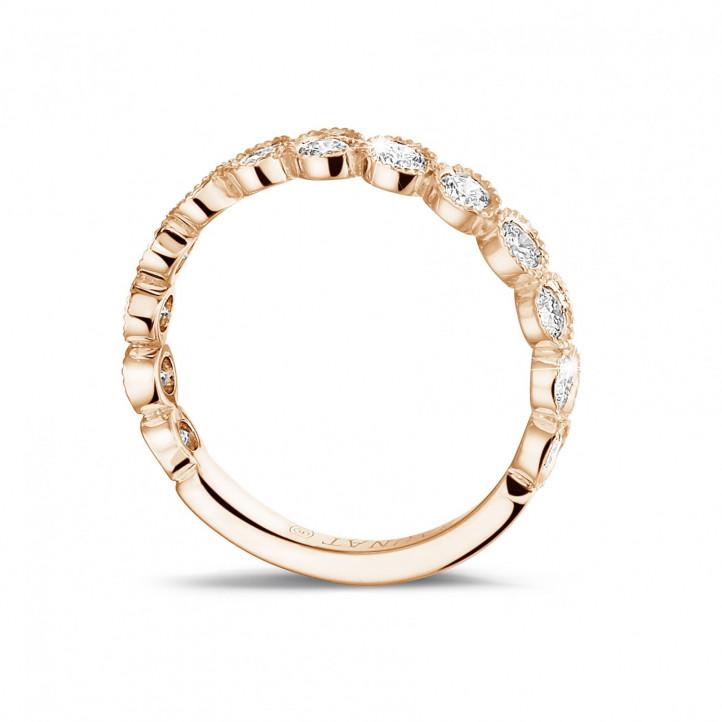 0.70 カラットのピンクゴールドダイヤモンド重ね付けエタニティリング