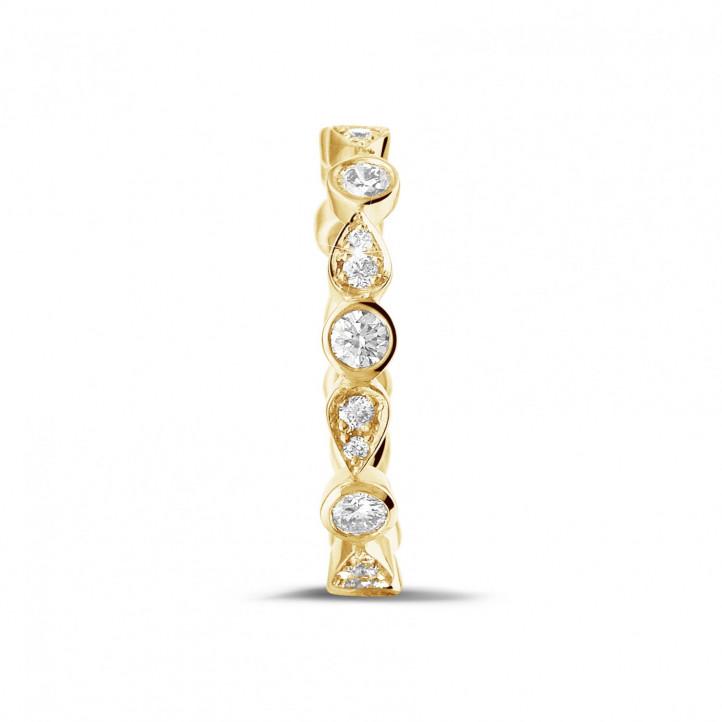 0.50 カラットのペアーデザイン付きイエローゴールド重ね付けダイヤモンドエタニティリング