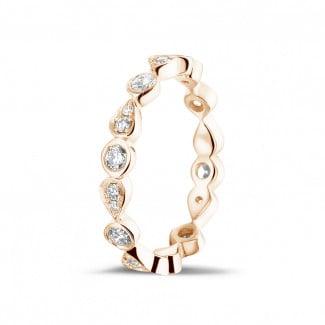 リング - 0.50 カラットのペアーデザイン付きピンクゴールド重ね付けダイヤモンドエタニティリング