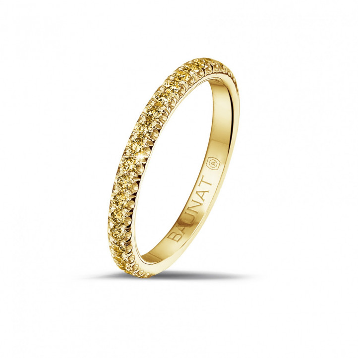 0.35 カラットのイエローダイヤモンド付きイエローゴールドエタニティリング(ハーフセット)
