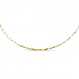 ダイヤモンドネックレス - 0.30 カラットのイエローダイヤモンド付きイエローゴールド細いネックレス