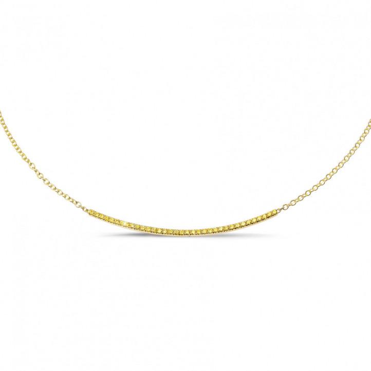 0.30 カラットのイエローダイヤモンド付きイエローゴールド細いネックレス