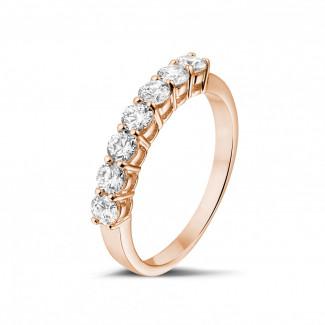 ブリリアント付き結婚指輪 - 0.70 カラットのピンクゴールドダイヤモンドエタニティリング