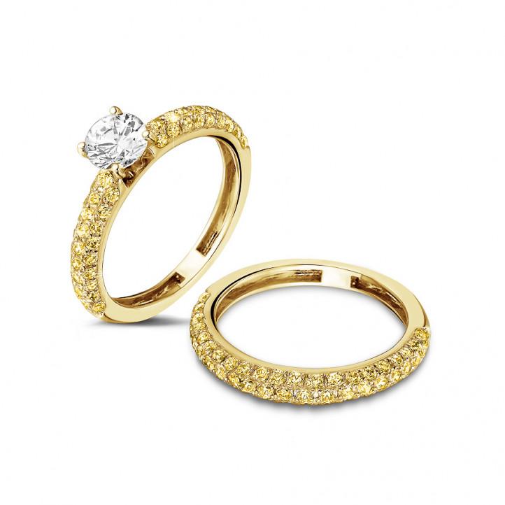 0.65 カラットのイエローダイヤモンド付きイエローゴールドエタニティリング(ハーフセット)