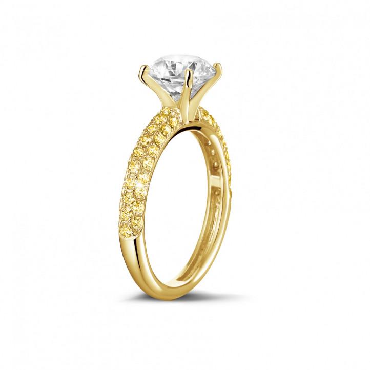 1.20 カラットのイエローサイドダイヤモンド付きイエローゴールドソリテールリング(ハーフセット)