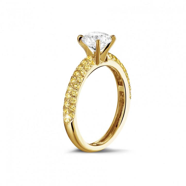 1.50 カラットのイエローサイドダイヤモンド付きイエローゴールドソリテールリング(ハーフセット)