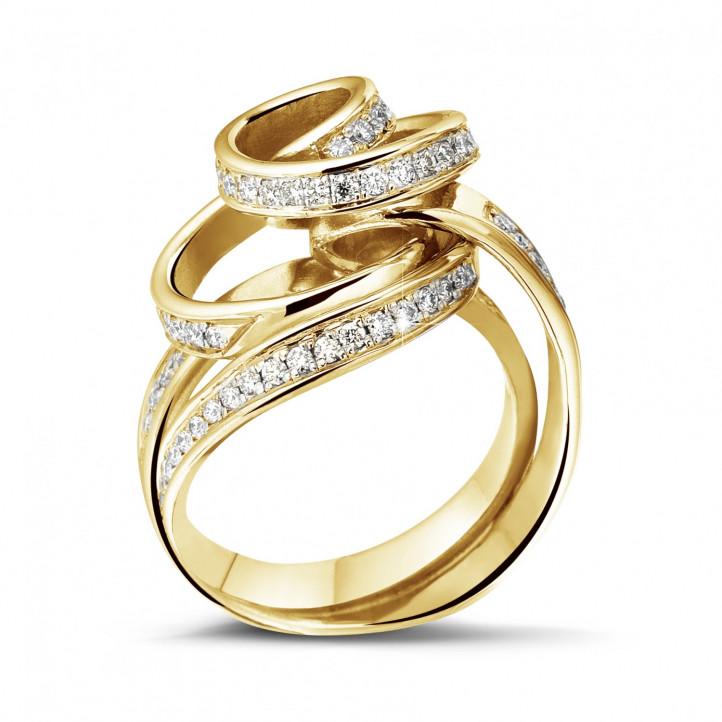 0.85 カラットのイエローゴールドダイヤモンドデザインリング
