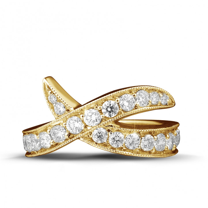 1.40 カラットのイエローゴールドダイヤモンドデザインリング
