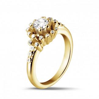 イエローゴールドダイヤモンドリング - 0.50 カラットのイエローゴールドダイヤモンドデザインリング
