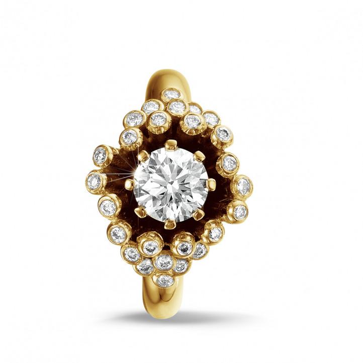 0.90 カラットのイエローゴールドダイヤモンドデザインリング