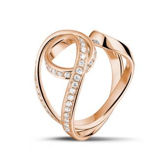 ピンクゴールドダイヤモンドリング - 0.55 カラットのピンクゴールドダイヤモンドデザインリング