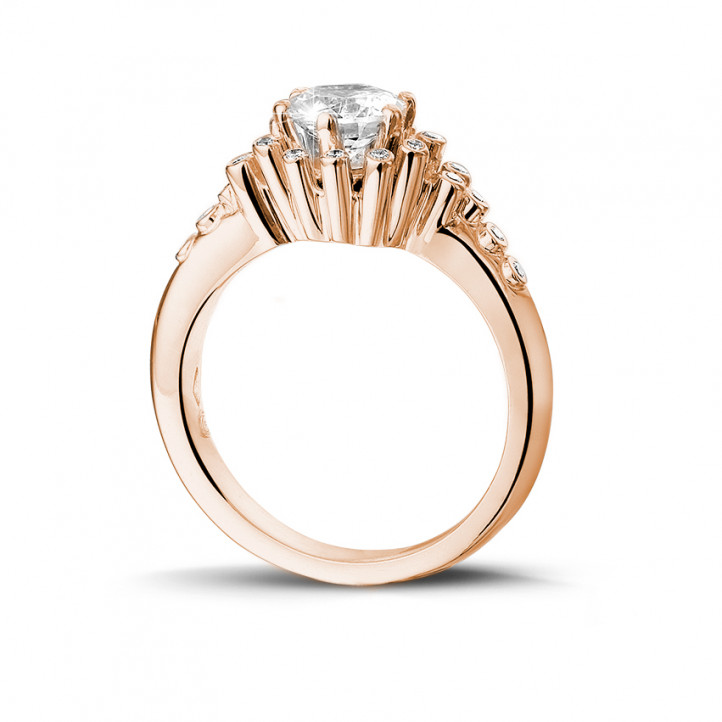 0.90 カラットのピンクゴールドダイヤモンドデザインリング