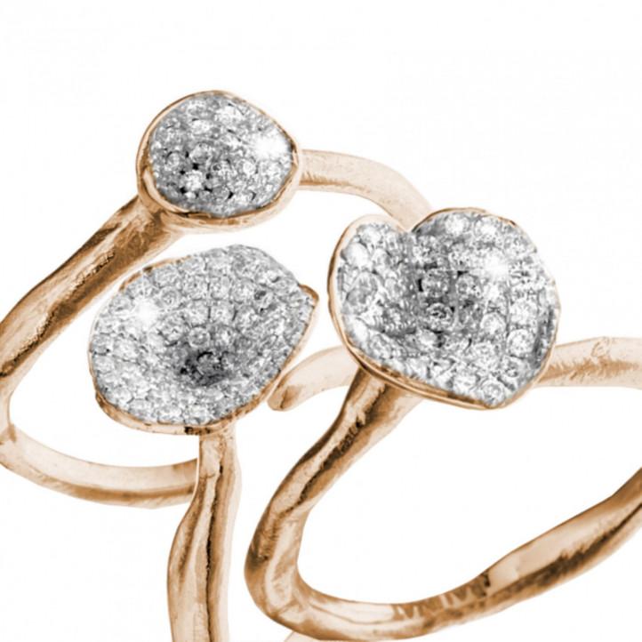 マッチングのピンクゴールドダイヤモンドデザインリング