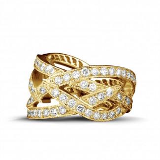 イエローゴールドダイヤモンドリング - 2.50 カラットのイエローゴールドダイヤモンドデザインリング