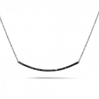 ネックレス - 0.30 カラットのブラックダイヤモンド付きホワイトゴールド細いネックレス