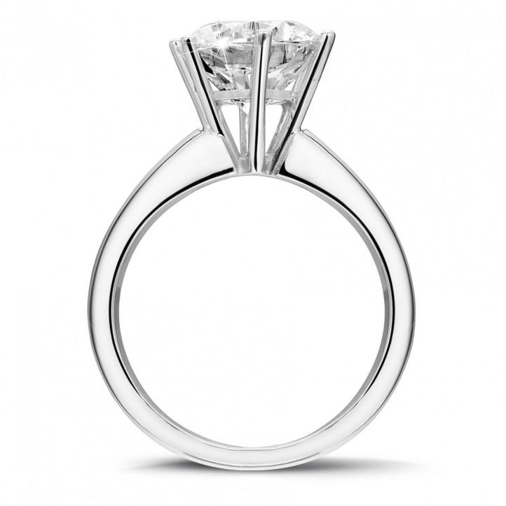 3.00 カラットの6のプロング付きプラチナソリテールダイヤモンドリング