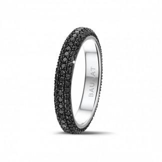 ホワイトゴールドダイヤモンドリング - 0.85 カラットのブラックダイヤモンド付きホワイトゴールドエタニティリング(ハーフセット)