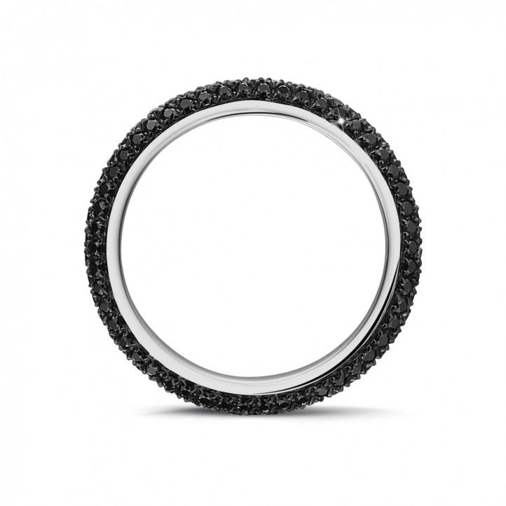 0.85 カラットのブラックダイヤモンド付きホワイトゴールドエタニティリング(ハーフセット)