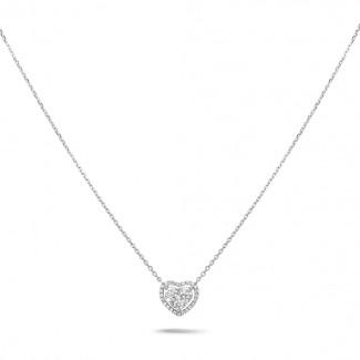 ネックレス - 0.65カラットのラウンドダイヤモンド付きホワイトゴールドハートシェイプのペンダント