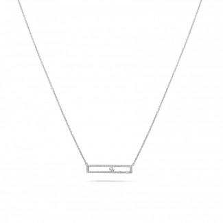 ネックレス - 0.30 カラットの浮かんでいるダイヤモンド付きホワイトゴールドネックレス