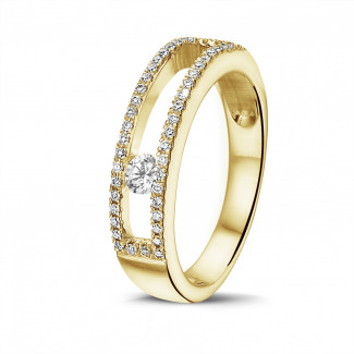 イエローゴールドダイヤモンドリング - 0.25カラットの浮かんでいるダイヤモンド付きイエローゴールドリング