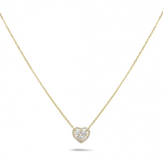 ネックレス - 0.65カラットのラウンドダイヤモンド付きイエローゴールドハートシェイプのペンダント