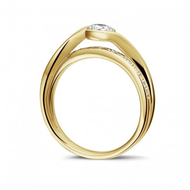 0.50 カラットのイエローゴールドソリテールダイヤモンドリング