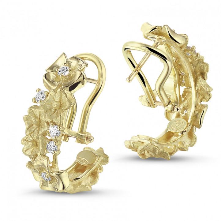 0.50 カラットのイエローゴールド花のデザインイヤリング