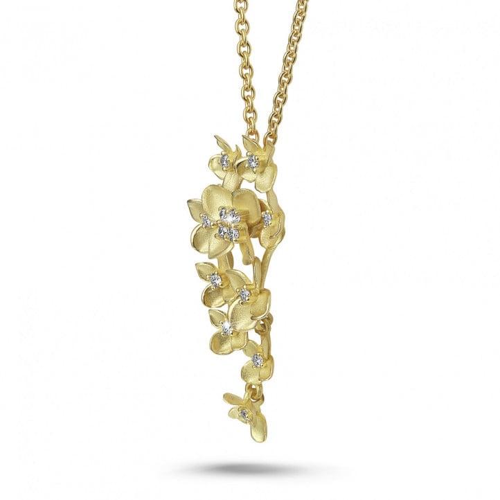 0.35 カラットのイエローゴールド花のデザインペンダント