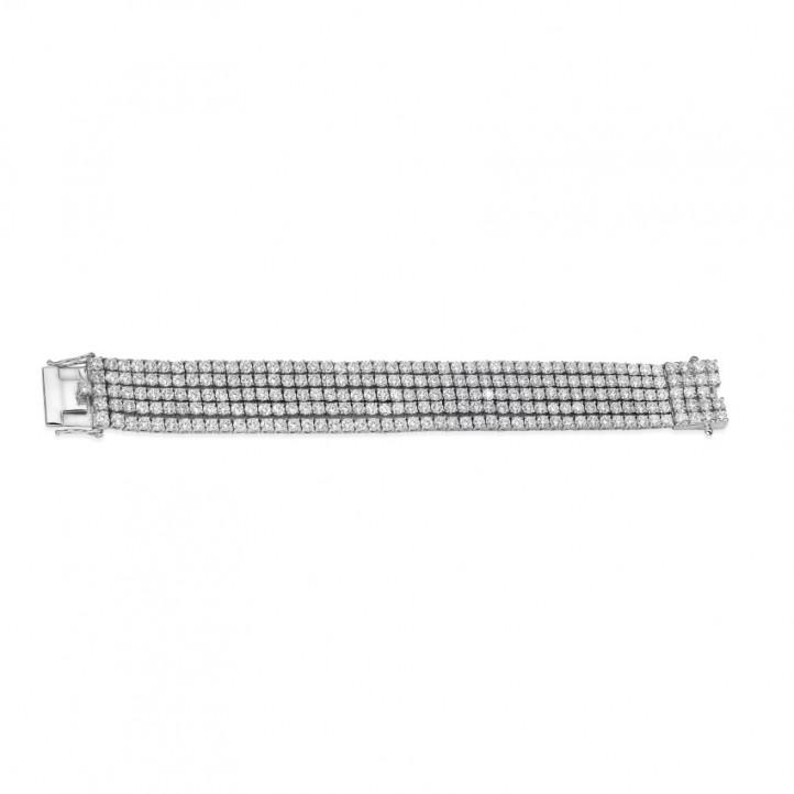 25.90カラットの幅の広いホワイトゴールドダイヤモンドテニスブレスレット